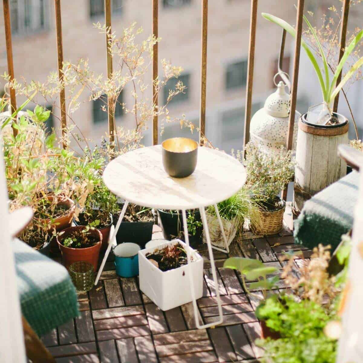 Balcony with plants, a candle, and table.