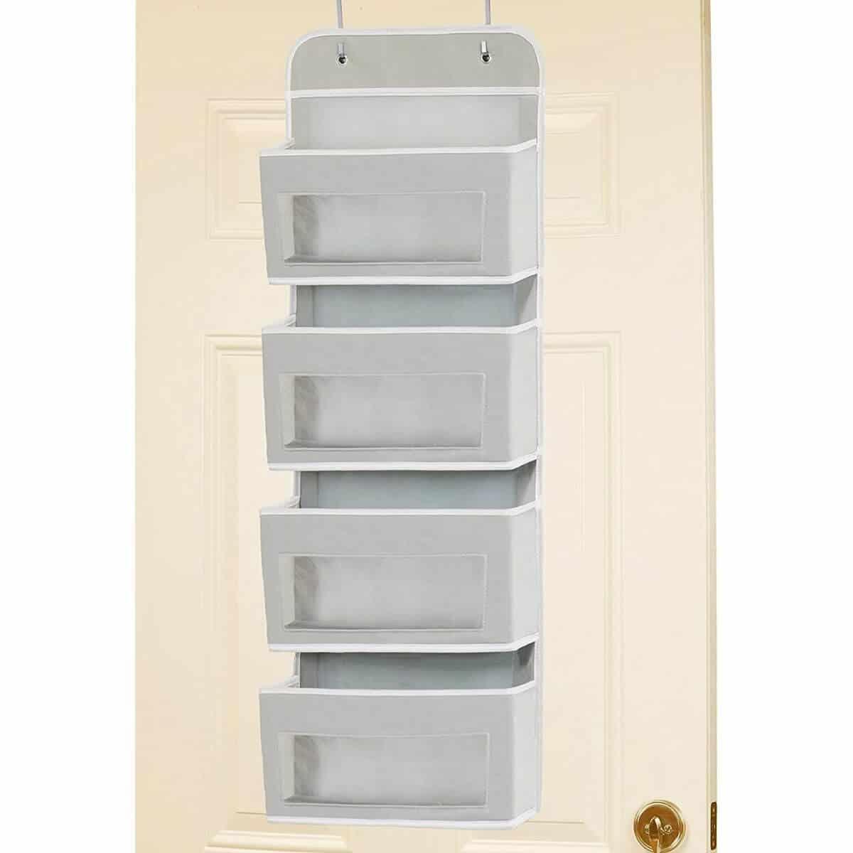 Grey over-the-door storage rack.