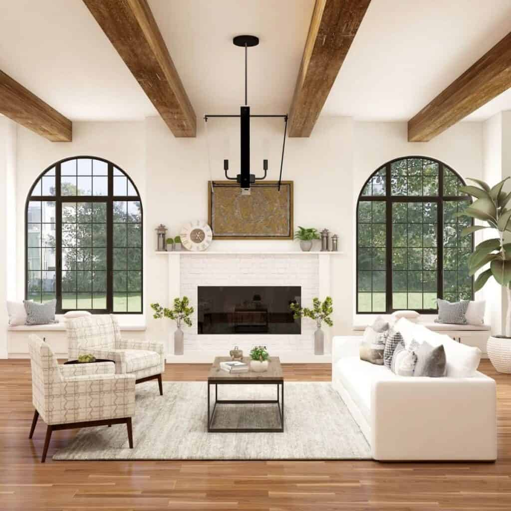 Modern farmhouse styled living room.