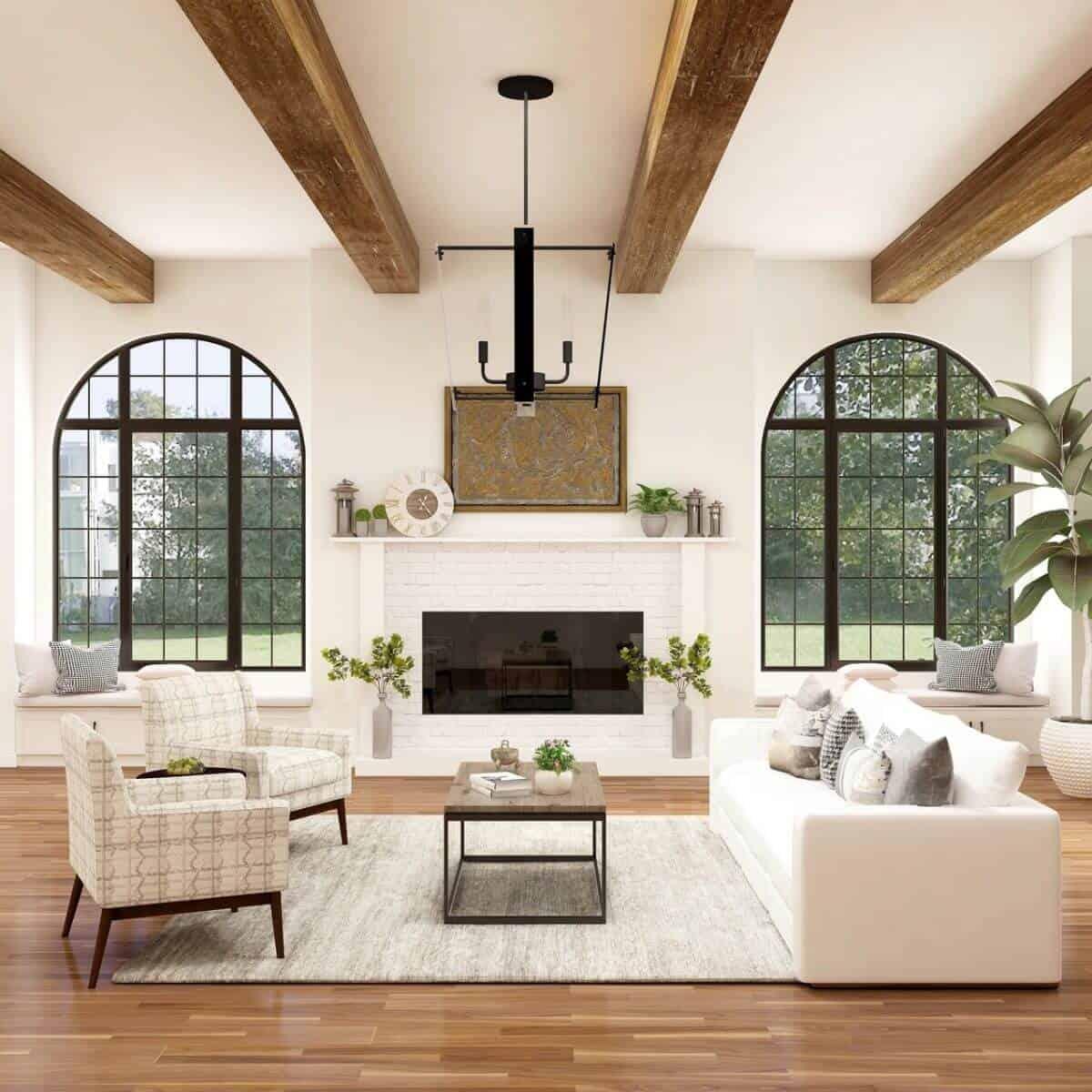 Modern farmhouse styled living room.