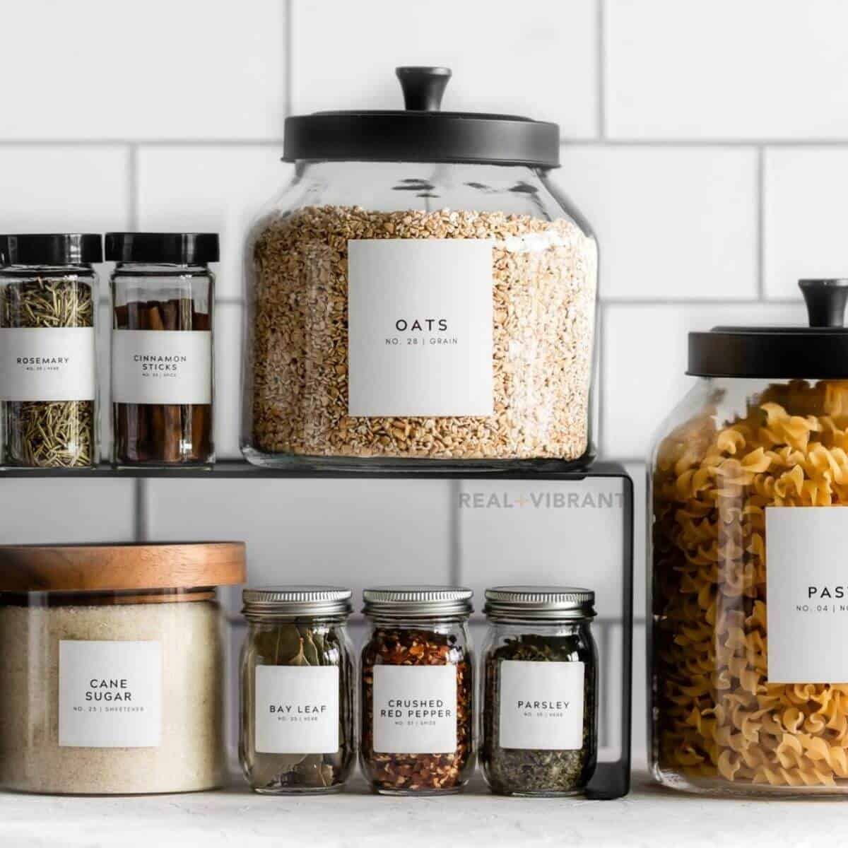 Pantry and spice labels and jars.