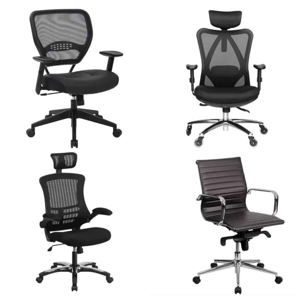 Four black office chairs.