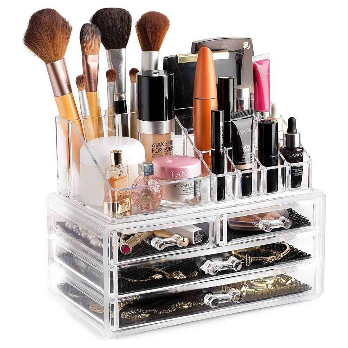 Clear makeup and jewelry organizer.
