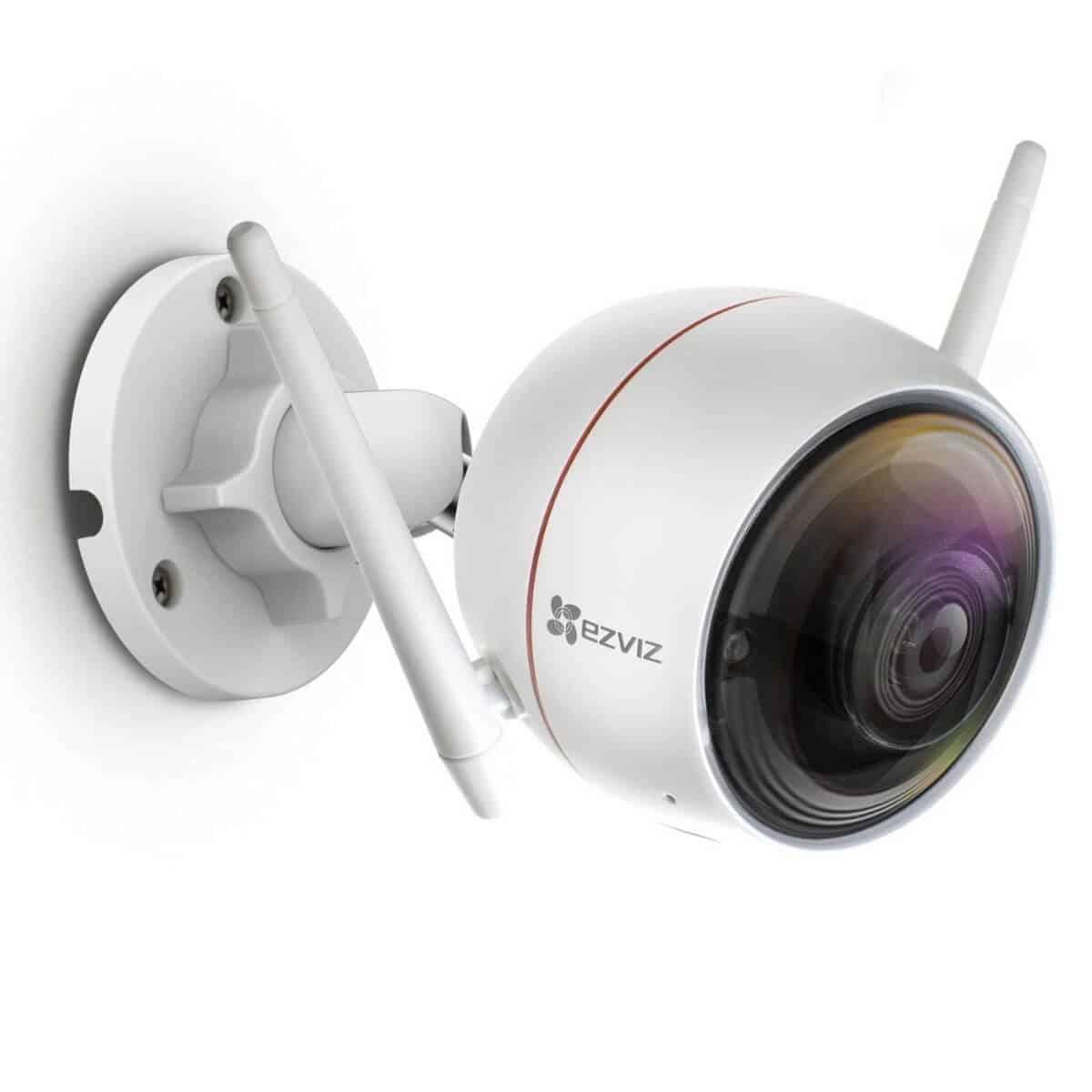 Ezviz security camera mounted to a wall.