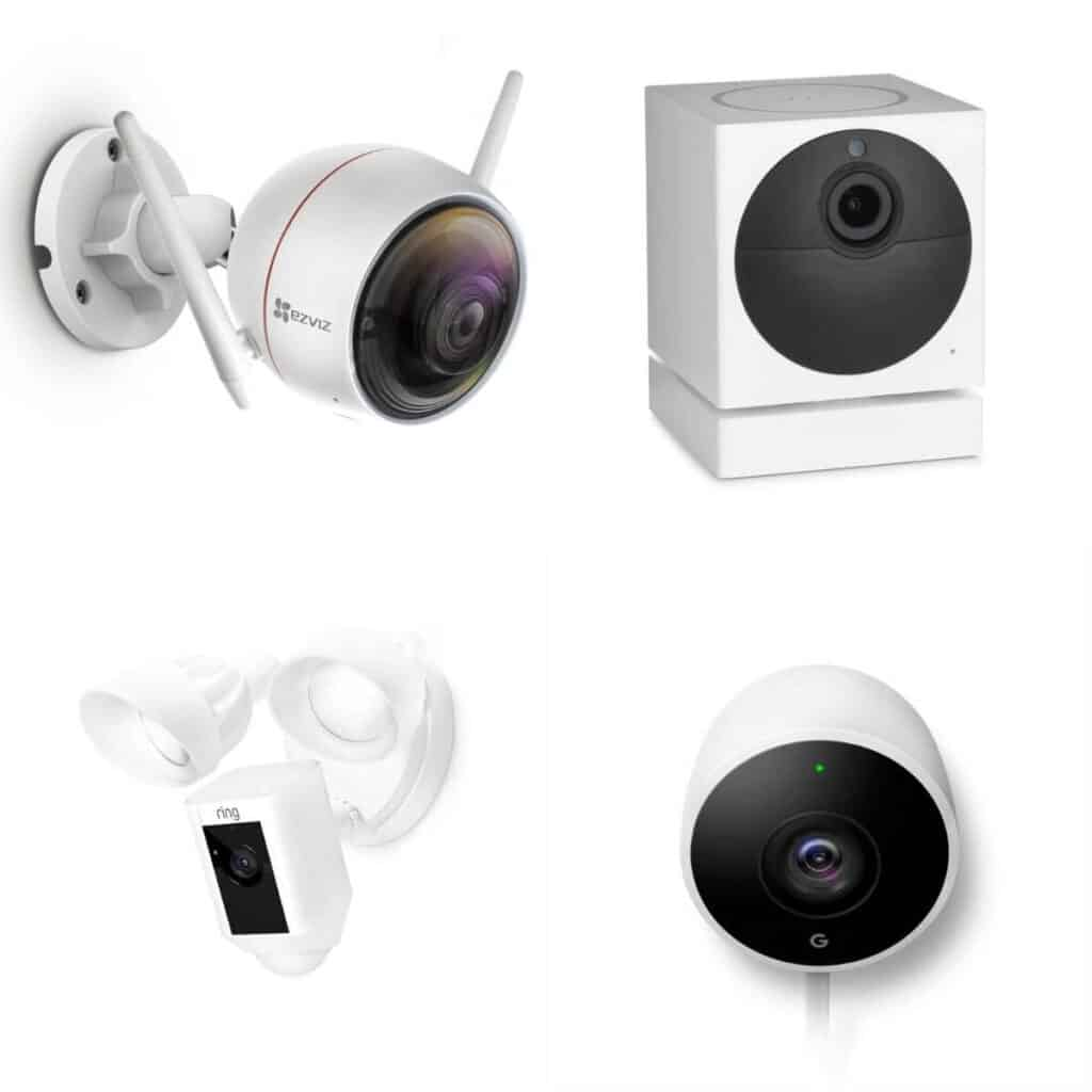 Four different outdoor home security cameras.