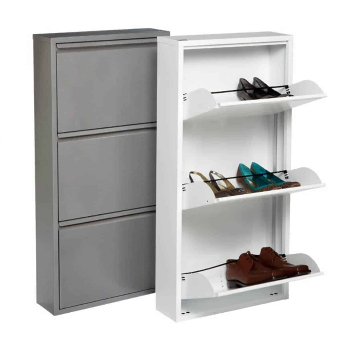 A grey and a white shoe cabinet.