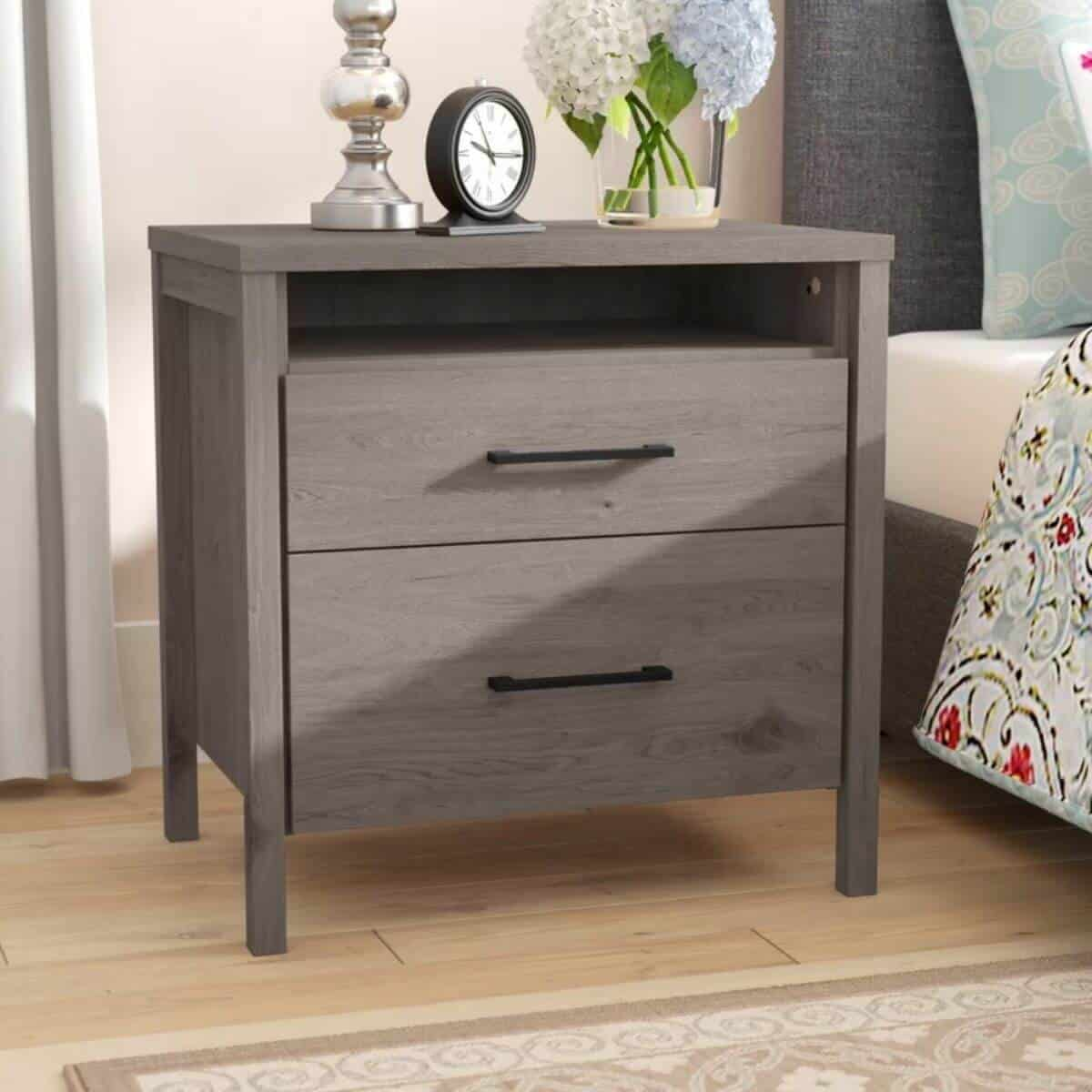 Grey maple bedside table with drawers.