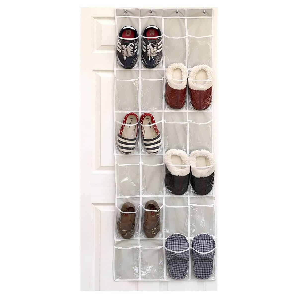 Over-the-door shoe organizer with six pairs in it.