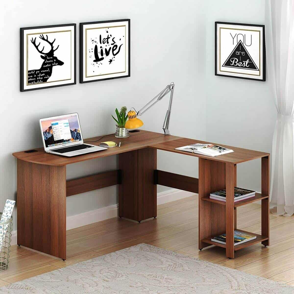 Walnut wood L-shaped desk.