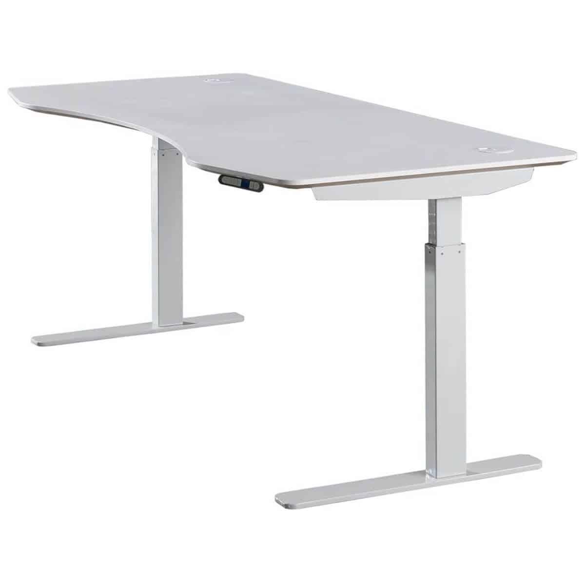 White adjustable height standing desk.