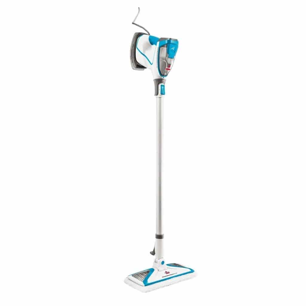 Blue and white BISSELL steam mop.