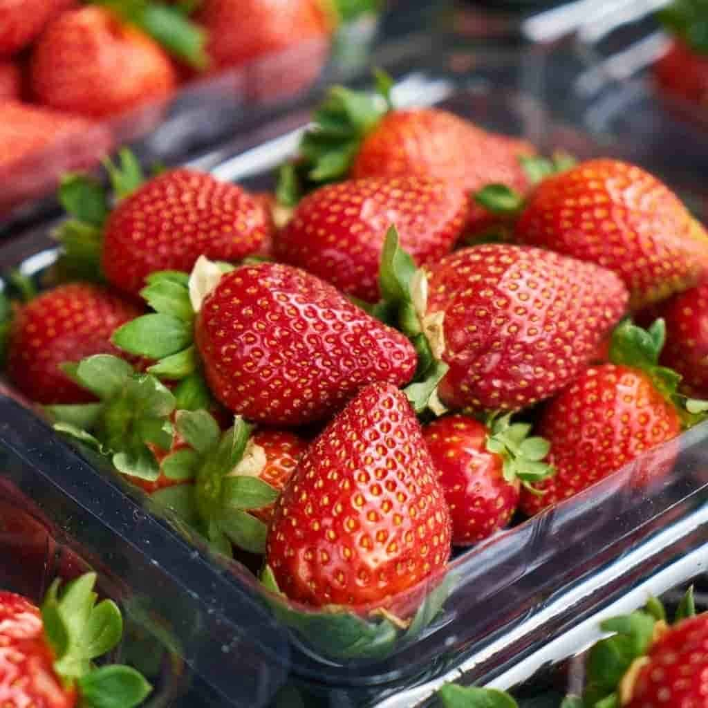 Container of strawberries.
