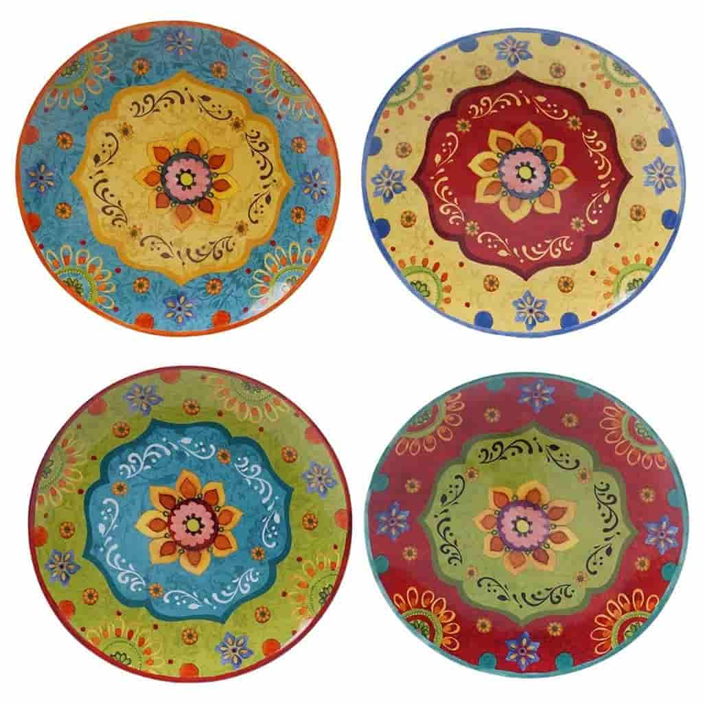 Four decorative plates with different colors.