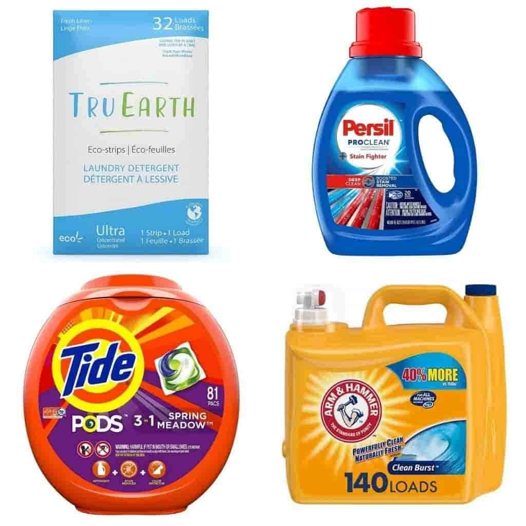 Four different types of laundry detergents.