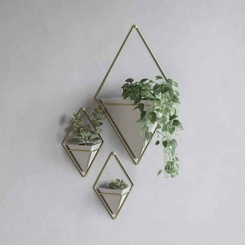 Three geometric planters mounted to the wall with plants in them.
