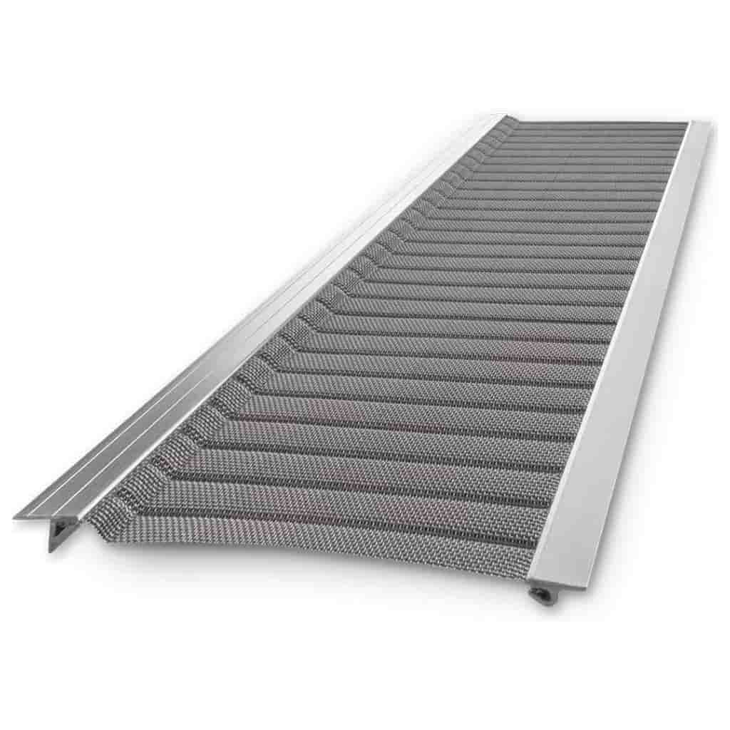 Silver micro-mesh gutter guard by Raptor.