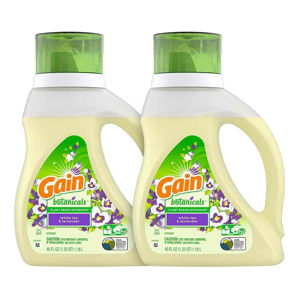 Two jugs of Gain Botanicals laundry detergent.