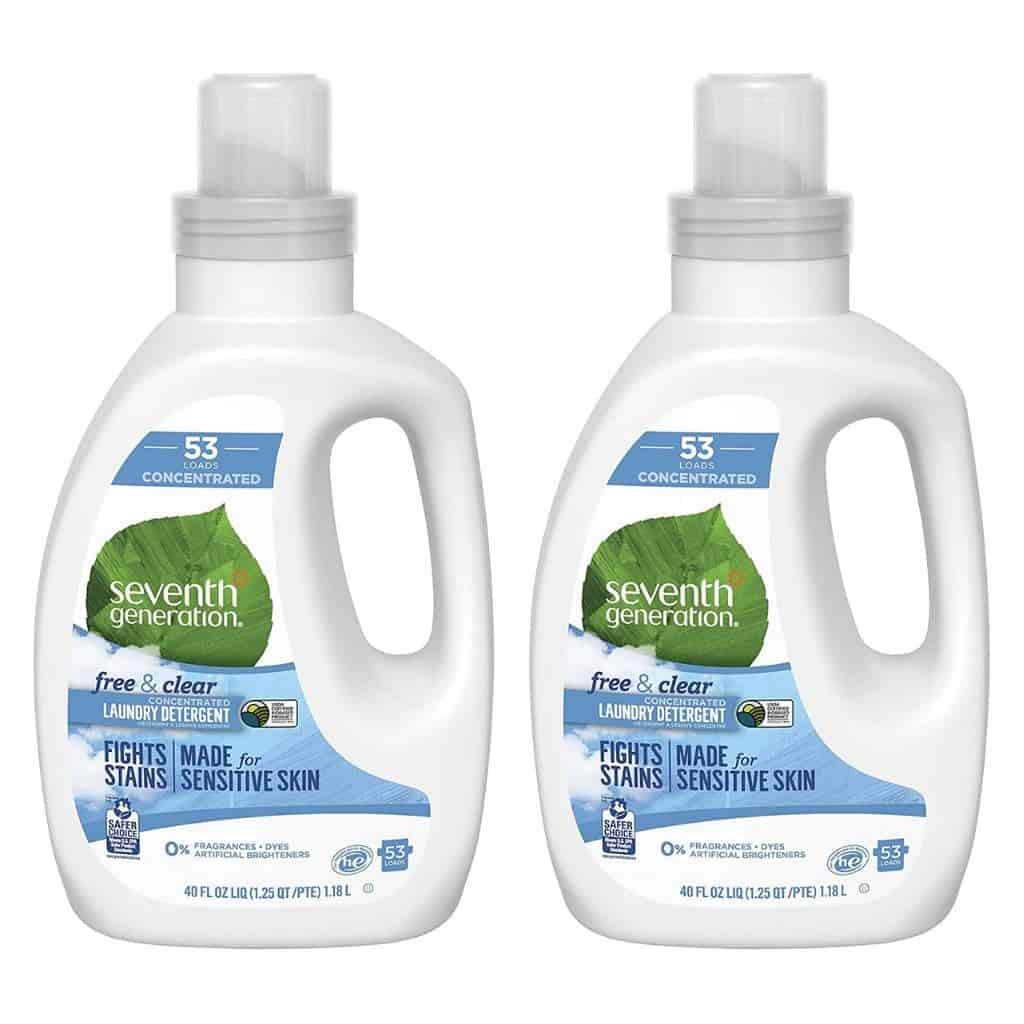 Two jugs of Seventh Generation laundry detergent.