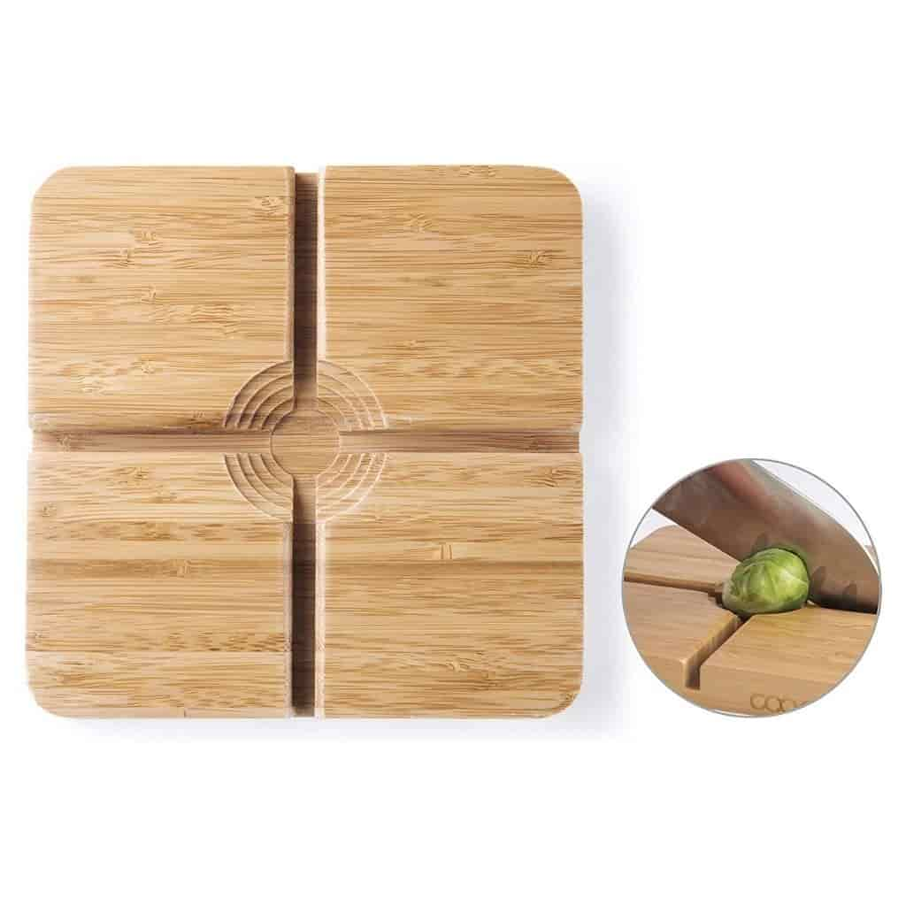 Cutting board with a hole for vegetables.