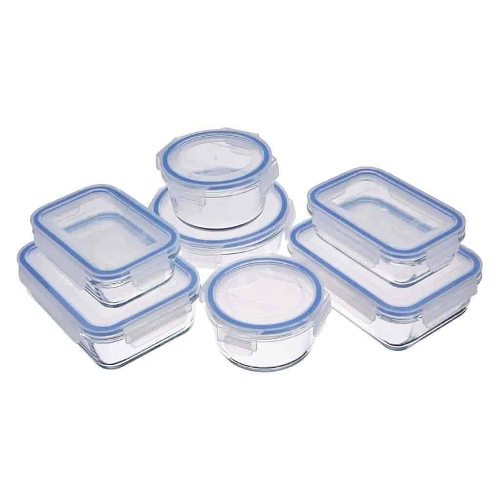 Stacks of glass food containers by AmazonBasics.