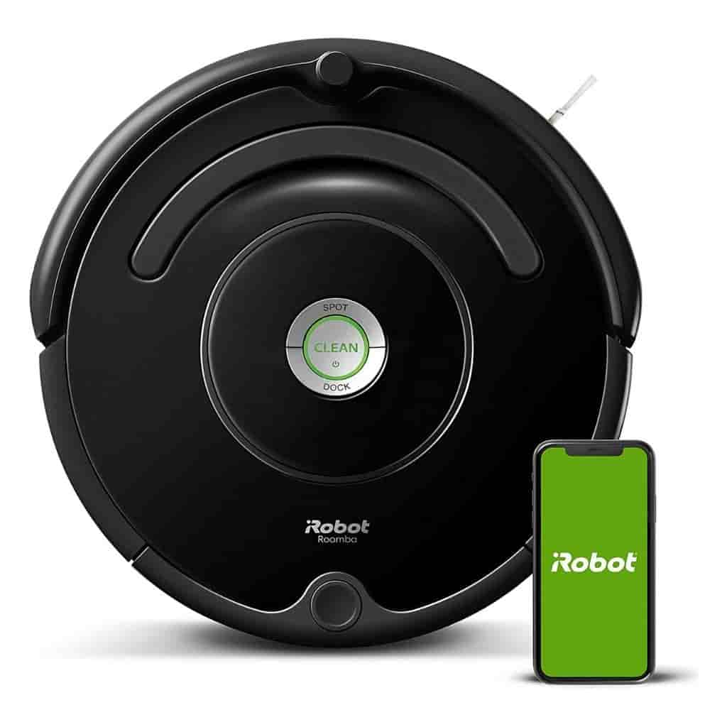 iRobot Roomba vacuum and phone showing the logo.