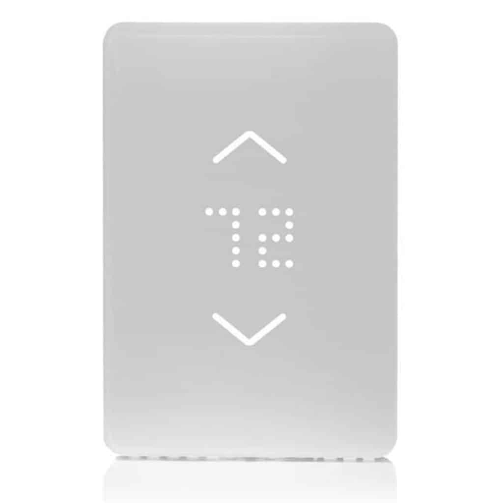 White Mysa smart thermostat.