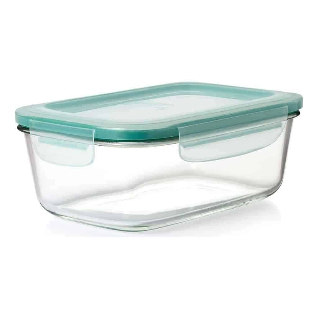 Empty OXO glass food storage container.