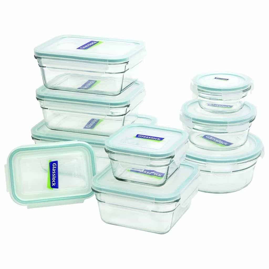 Stack of Glasslock food storage containers.