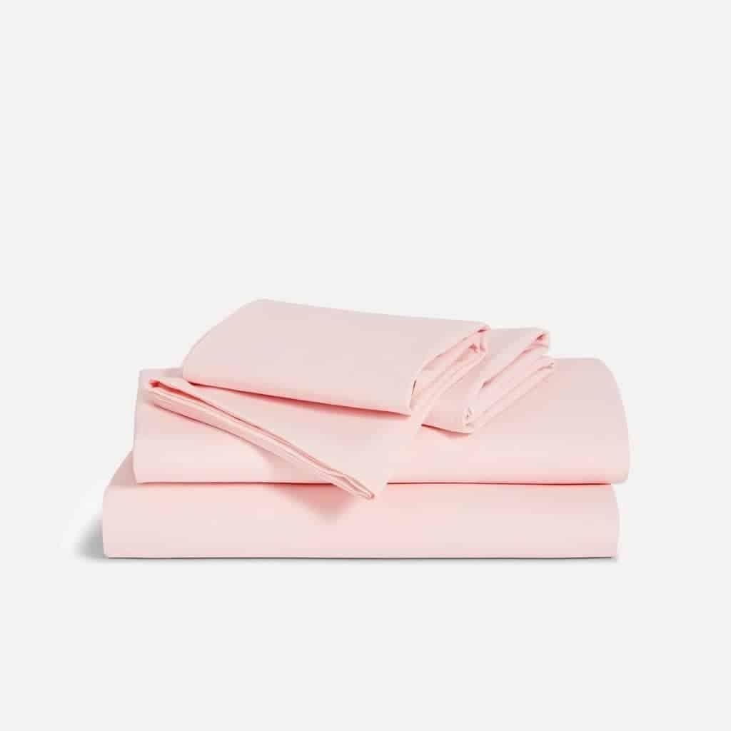 Brooklinen pink bed sheet set.