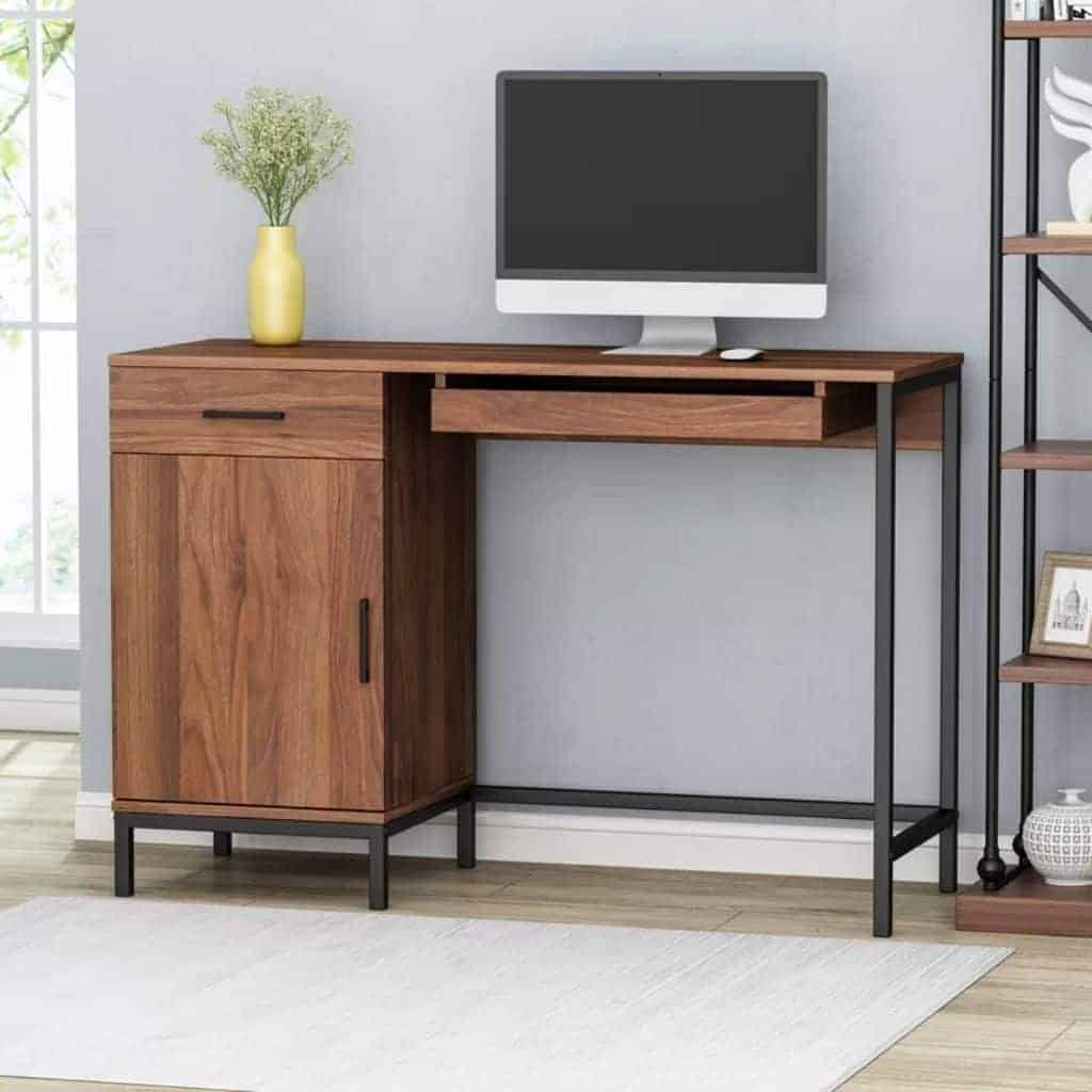 Black and brown wooden computer desk.