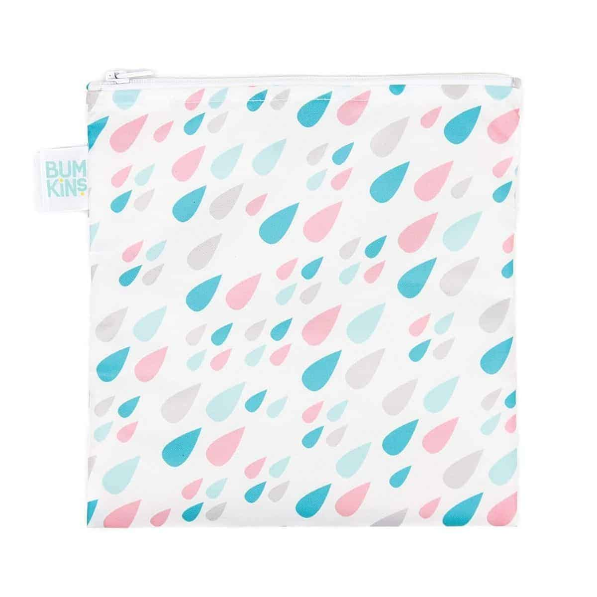 Reusable sandwich bag with pink and blue rain drops on it.