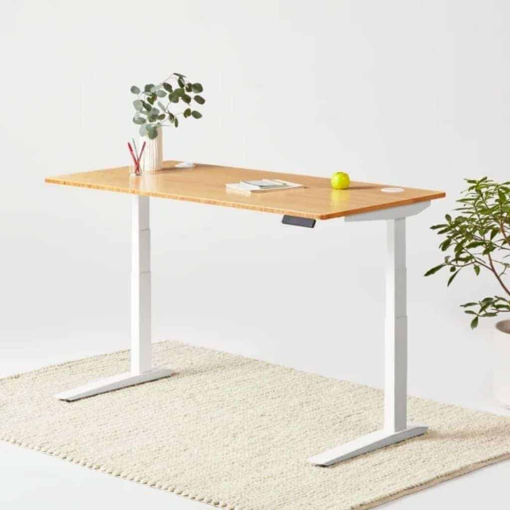 Fully bamboo standing desk on a rug.