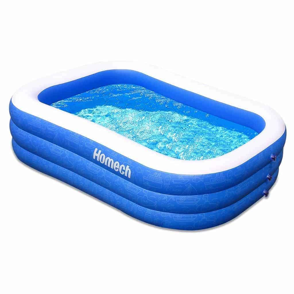 Homech inflatable pool filled with water.