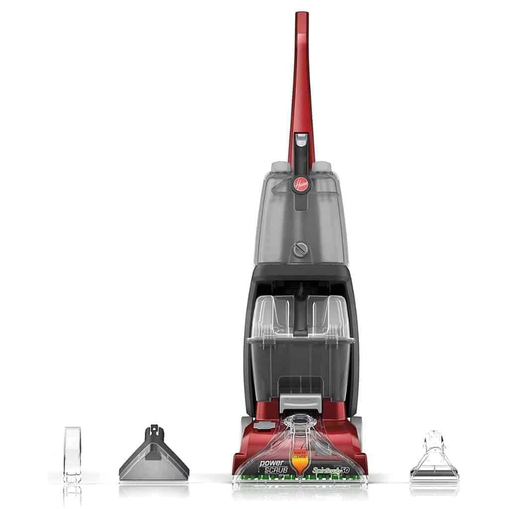 Hoover Power Scrub carpet cleaner with attachment pieces.