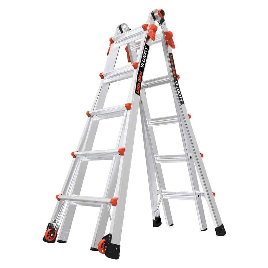 Orange and silver aluminum ladder with wheels.