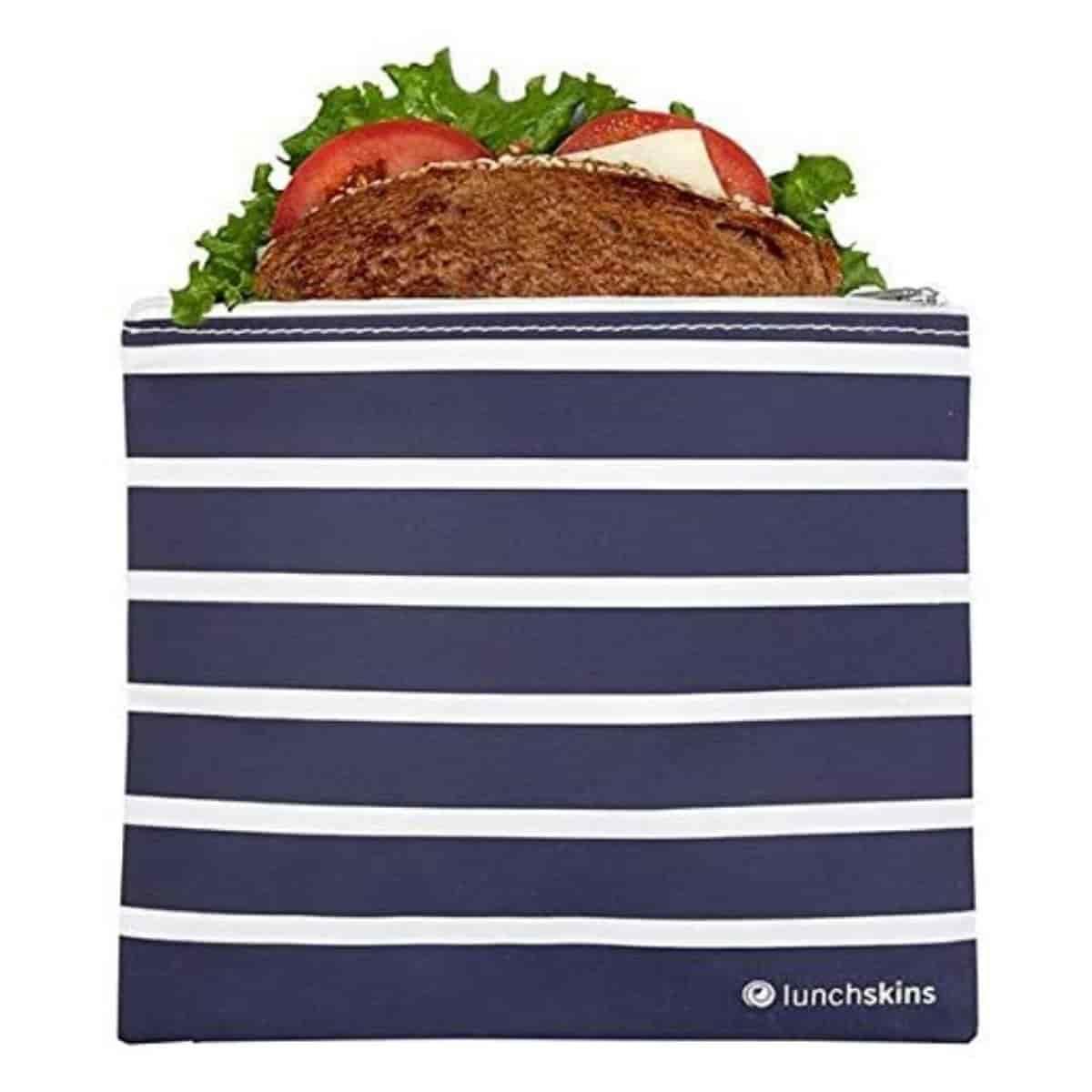 Blue stripe reusable sandwich bag.