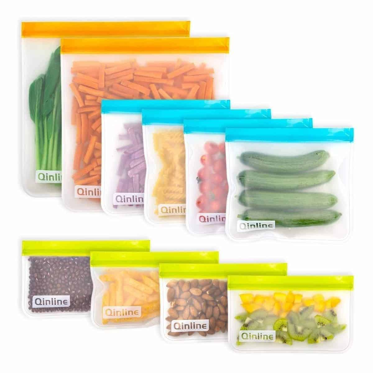 Ten reusable food storage bags of different sizes.