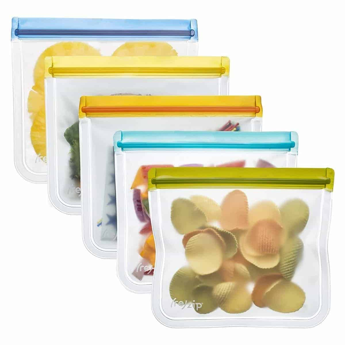 Five multi-colored reusable lunch bags.
