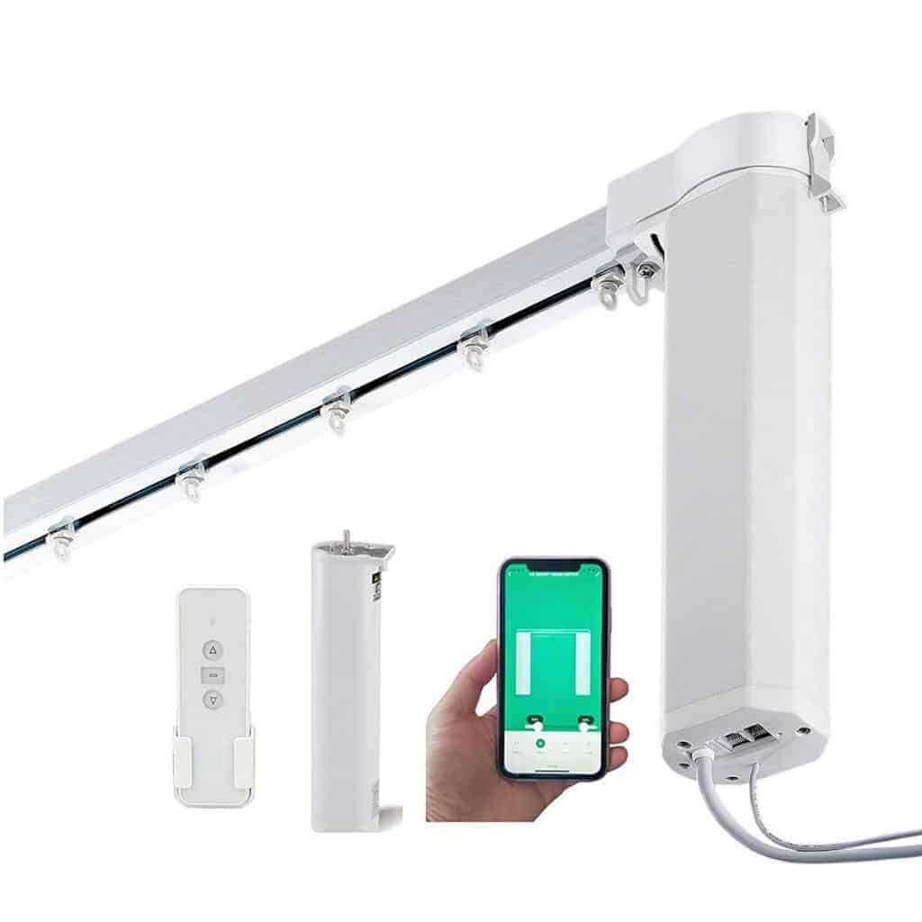 SimpleSmart motorized curtain track with accessories.