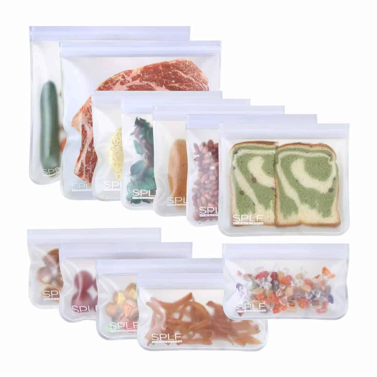 Twelve reusable food storage bags.