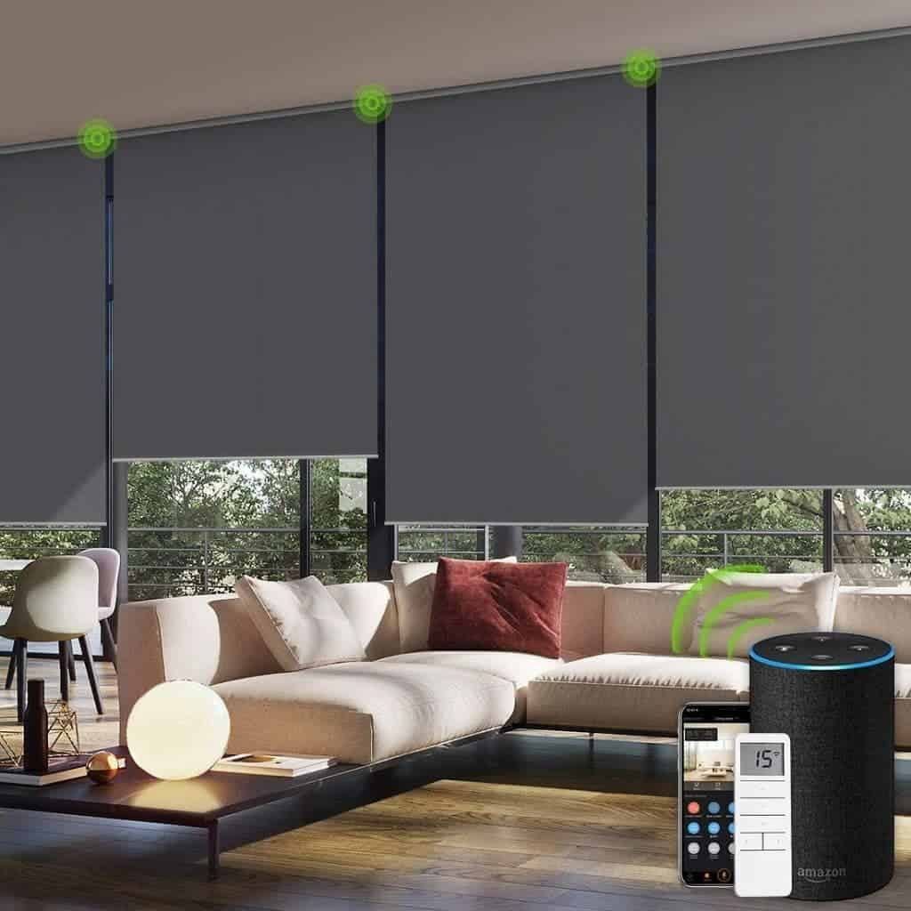 Yoolax motorized blinds in a living room.