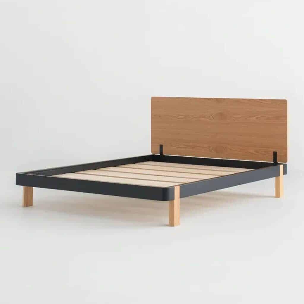 Wooden platform bed frame.