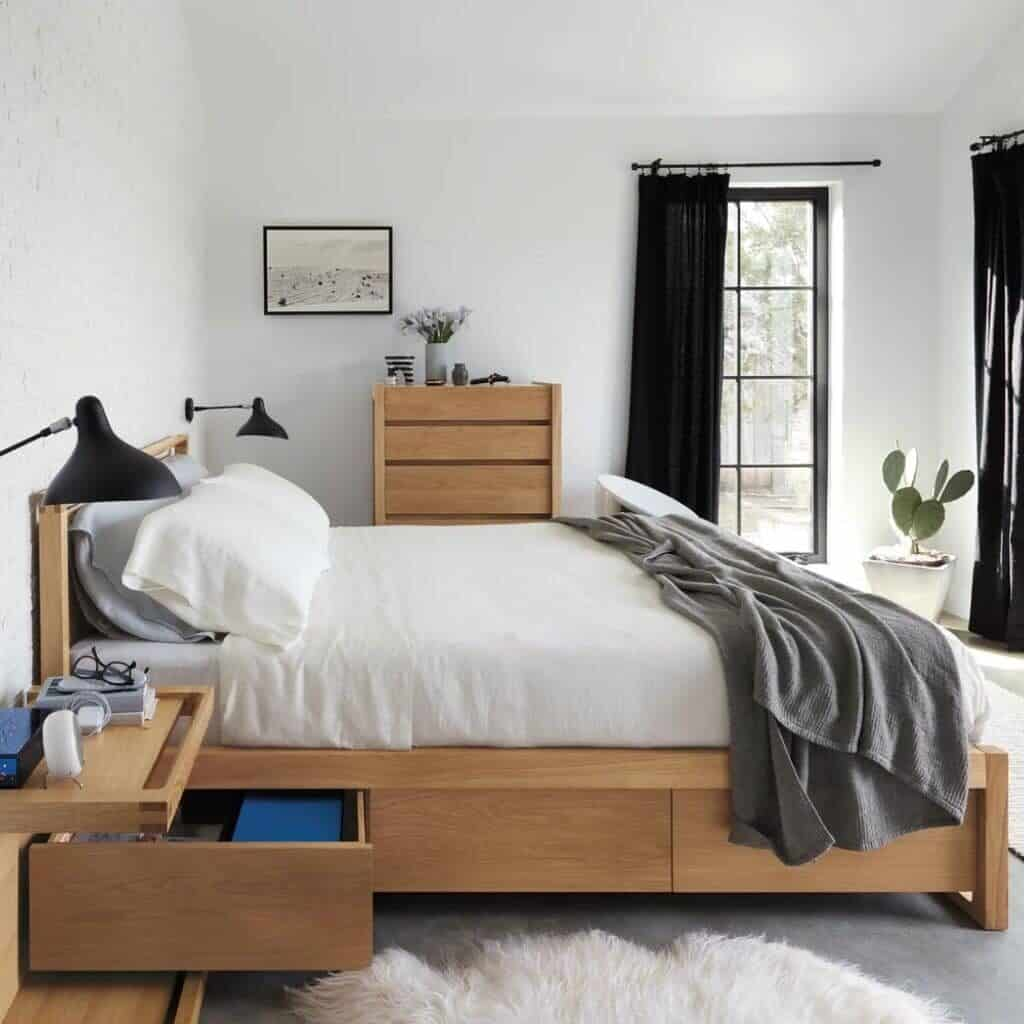 Bedroom showing a side view of the Matera platform bed.