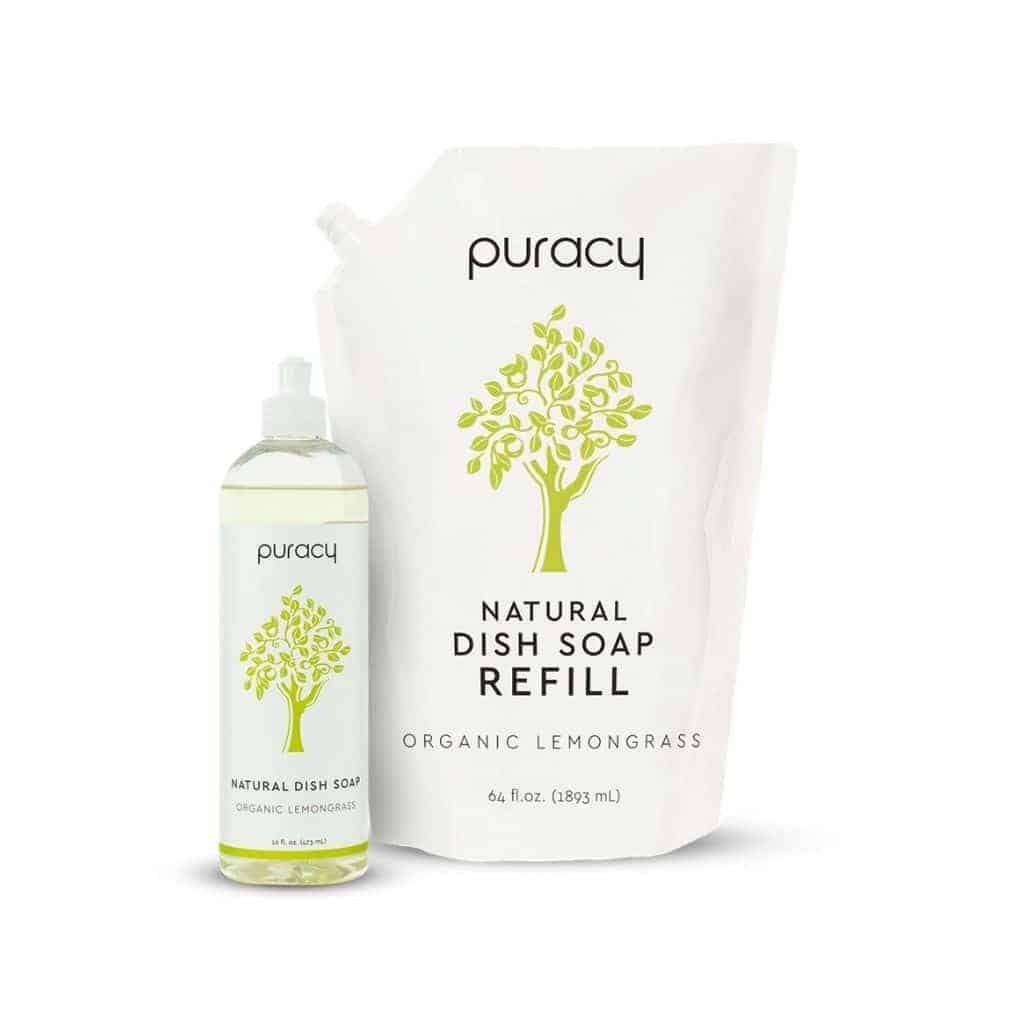 Puracy dish soap and a refill pack.