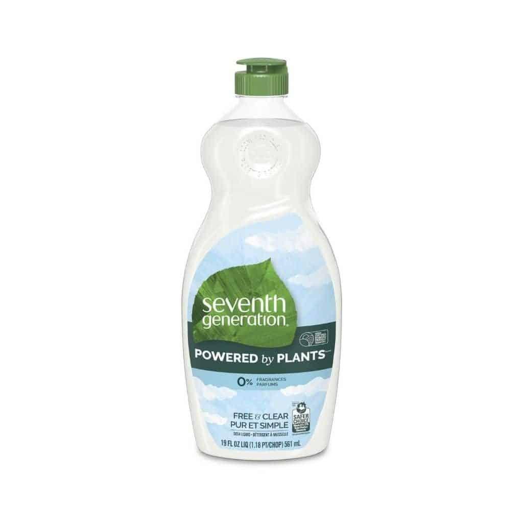 Bottle of Seventh Generation dish soap.