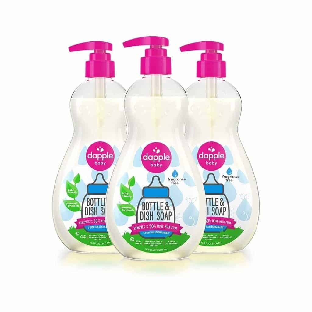 Three bottles of Dapple Baby dish soap.