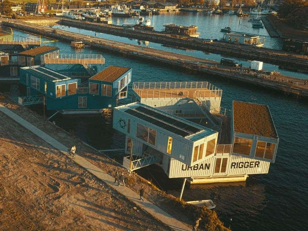 Floating container homes.