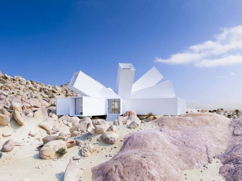 White geometric container home in the desert.