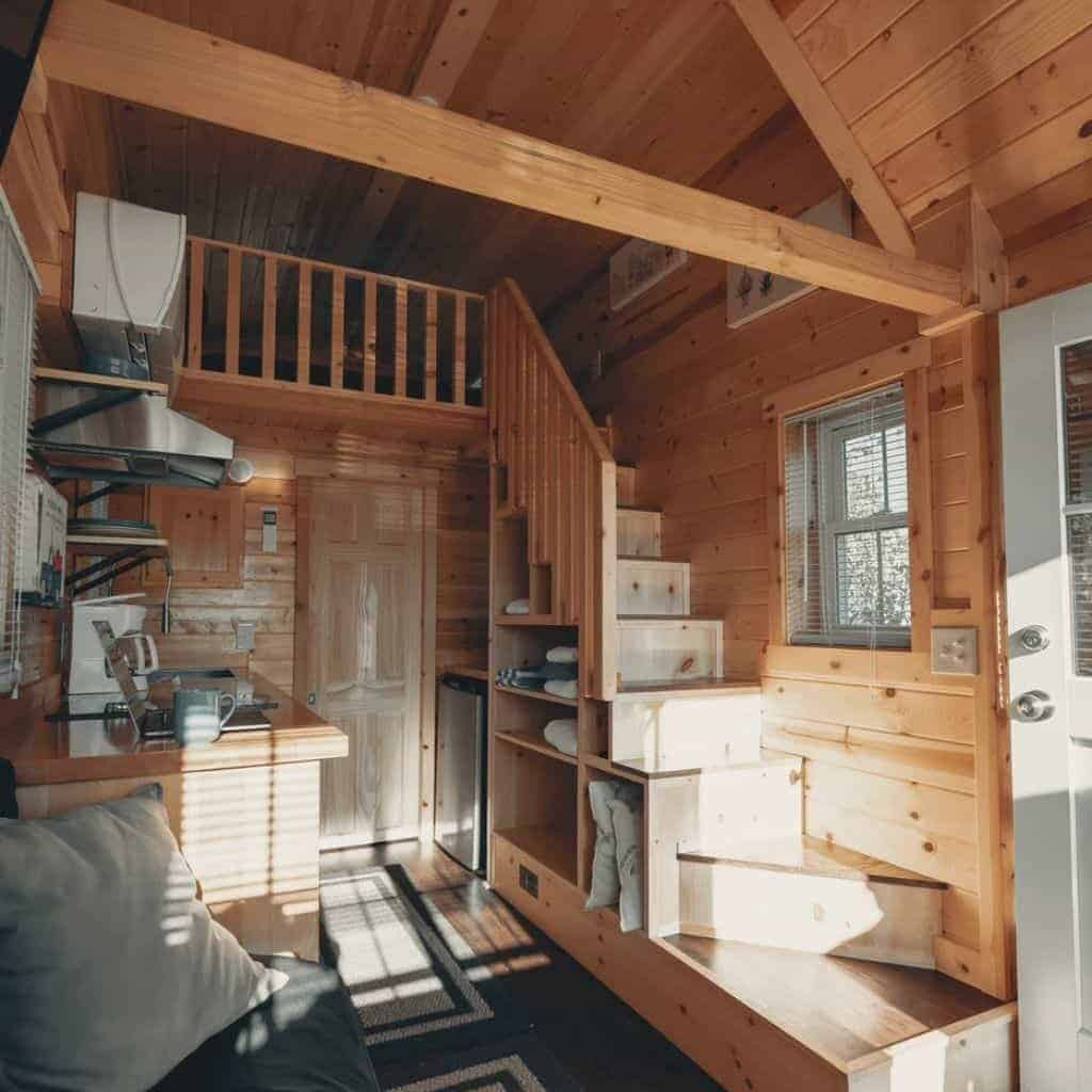 Interior of an A-frame tiny house.