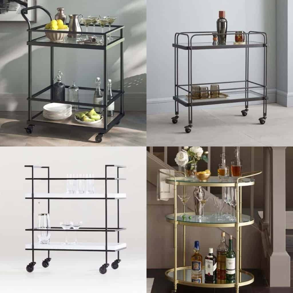 Collage of four different bar carts.